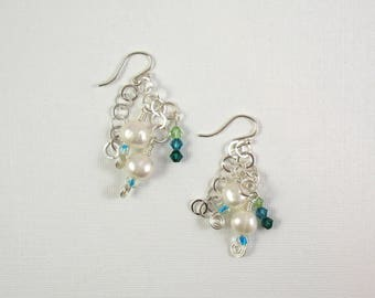 Freshwater Pearls and Swarovski Crystals on Sterling Silver Earrings