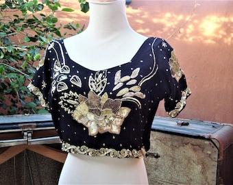Vintage Black n Gold Sequin Cropped Belly Dancer Festival Top Strappy Back Size M