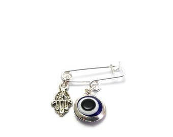 Lucky Evil Eye Safety Pin -protection for baby - New mommy - Baby shower - baptism - birth announcement - stroller - baby gift