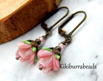 Pink Rose Earrings,Lampwork Rose Earrings,Victorian Inspired,Vintage Inspired,Rose Earrings,Antique Brass