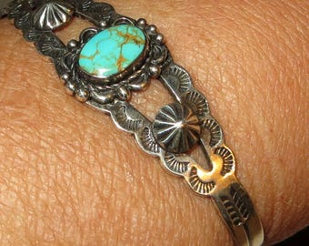 Trading Post Sterling Turquoise Cuff Bracelet Fred Harvey Era Native American Souvenir