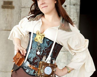 SALE Light Blue and Brown Custom Corset Size Small, Victorian, Steampunk, Renaissance, Western, Dustpunk, Medieval