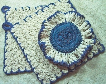 Country Kitchen Set 3 Piece - Natural & Royal Blue - Ruffled Scrubber and 2 Dish Cloths - Handmade Crocheted in Cotton Yarn