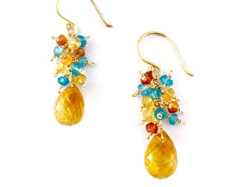 Yellow Citrine Earrings with Blue Topaz and Carnelian. Natural Faceted Yellow Citrine Gemstones with Smaller Gemstones Earrings.