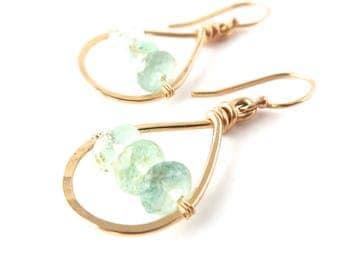 Ocean Green-Blue Aquamarine Gemstone Earrings. Small Gold Genuine Natural Light Blue- Green Aquamarine Gemstone Teardrop Hoop Earrings.