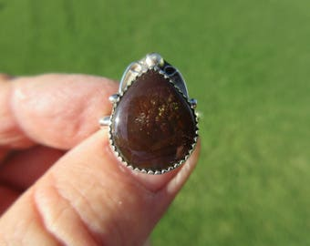 GREEN FIRE BUBBLES - Sterling Silver Mexican Fire Agate Ring - Size 9 1/4 - Free Resizing