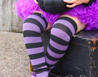 Purple and Black Striped Halloween Baby Leg Warmers