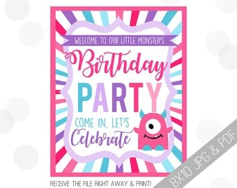 Monster Party Printables   Monster Welcome Sign   Door Sign   Girly Monster Sign   Girly Monster Party   Party Sign Girl Monster  