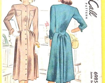 ON SALE Uncut 40s McCall 6985 OnePiece Dress 1940s Women's Vintage Sewing Pattern Bust 29 inches