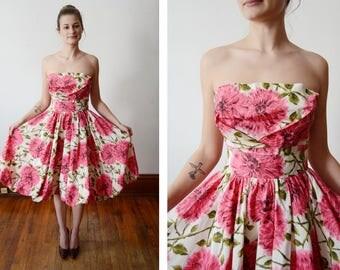 1950s Strapless Bubble hem Floral Party Dress - XS