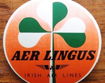 Vintage Aer Lingus Irish Air Lines Travel Decal Gummed Sticker