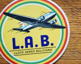Vintage L.A.B Lloyd Aereo  Boliviano Travel Decal Gummed Sticker