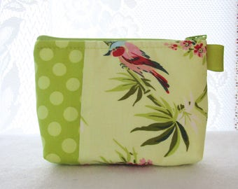 Birds and Bamboo Cosmetic Bag Amy Butler Fabric Gadget Pouch Makeup Bag Cotton Zip Pouch Temple Flowers Chartreuse Lime Green Polka Dots
