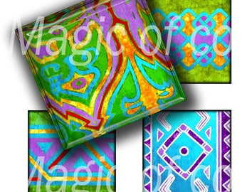 African Patterns - 40  1x1 Inch Square  JPG images - Digital  Collage Sheet