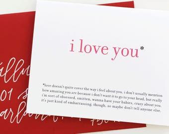 Funny Love Card / Awkward I Love You / Valentine Greeting Card