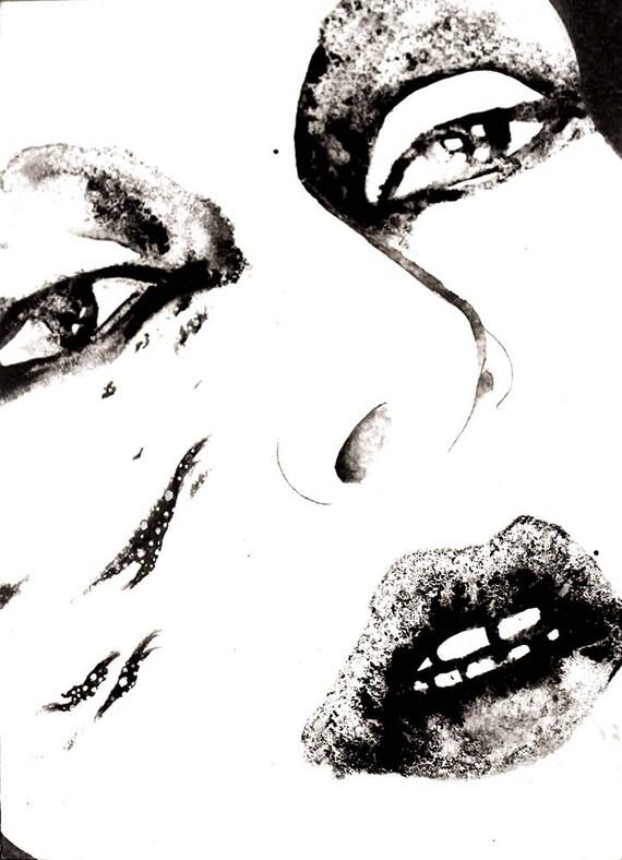 Vuoto. Ink drawing // small size art // black and white art // illustration // figurative art // woman // surreal art // portraiture