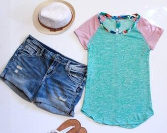 Mint Green Womens Tshirt, Dusty Pink Sleeves, Floral Print Neckline, Womens Summer Tops
