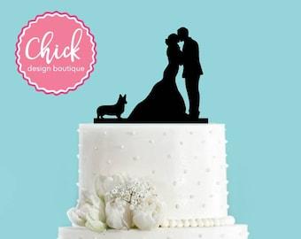 Couple Kissing with Welsh Corgi Dog Acrylic Wedding Cake Topper