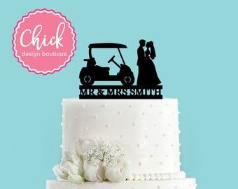 Custom Country Club Wedding Golf Cake Topper (Acrylic)