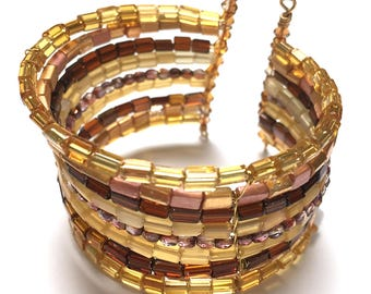 Golden Cuff Bracelet. 9 Layers. Stacked Bangle. Memory Wire Bracelet. Bangle Bracelet. Approx. 7 inch.