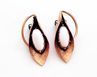 Matisse Earrings, Matisse Tahiti Earrings, Rare Vintage MATISSE Enamel Copper TAHITI Clip Earrings, Copper Enamel Jewelry, Matisse Jewelry