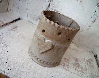 Ceramic Tea light holder, handmade one off design, indoor or outdoor garden night light