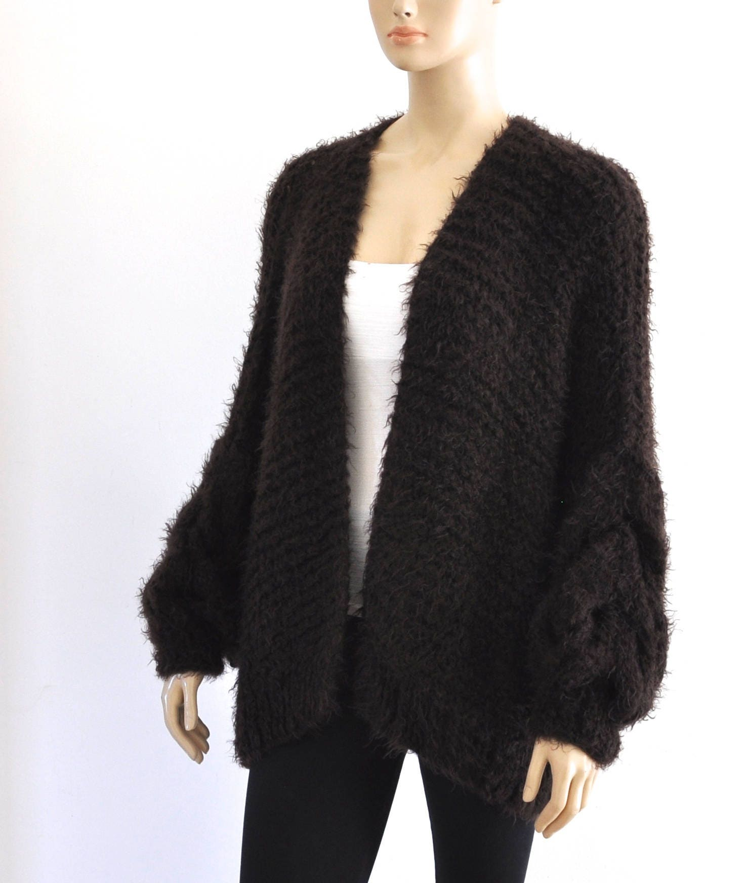Dark Brown Knit Oversized Cardigan Chunky Cable Knit Jacket