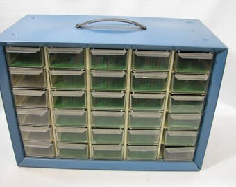 Akro Mils 30 Drawer Organizer Blue Metal Industrial Parts Bin Tool Chest Storage Box