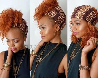 Satin Lined Headband Wide Headband Wrap Pineapple Bun Wrap Ankara African Print Wrap Turban - Sheba or Choose Print