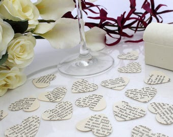 Paper heart wedding confetti- 200 Jane Austen book die cut punched hearts 25mm by 24mm- Great romantic Valentines table decoration