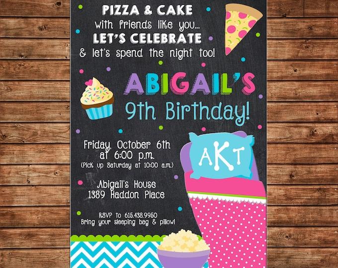 Girl Slumber Party Pajama Sleepover Spend the Night Sleeping Bag Pizza Cake Tween Monogram Birthday Invitation - DIGITAL FILE