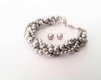 Twisted pearl bracelet dove grey Swarovski crystal pearl multi strand twisted bracelet and earrings set bridal