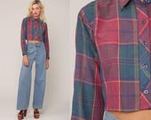 Plaid Blouse 80s Crop Top Checkered Shirt Button Up Shirt Blue Pink 1980s Long Sleeve Vintage Hipster Retro Small Medium