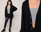Izod Cardigan Sweater 80s Black Button Up Crocodile Slouchy Plain Grandpa Knit Vintage 1980s Preppy Hipster Oversize Extra Large xl