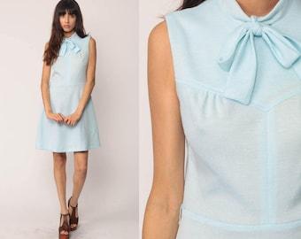 Pastel Dress Mod Mini 60s Mini BOW Baby Blue 70s TWIGGY Ascot Party Vintage Dolly Sleeveless Sixties Retro Go Go MiniDress Medium Large