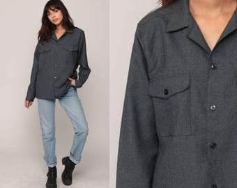 Button Up Shirt 70s Shirt Oxford Grey Button Down Long Sleeve Top Hipster 80s Collared Plain Geek Large