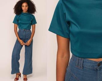 Blue Crop Top 70s Shirt Retro Blouse Short Sleeve Tee Shirt Hipster Teal Disco Boho Cropped High Neck Small Medium