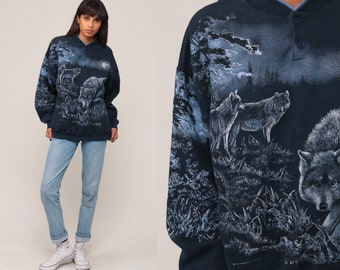 Wolf Sweatshirt 90s Animal Print Wolf Pack Shirt Jumper Graphic Wildlife Sweater Slouch Shirt 1990s Vintage Hipster Extra Large xl