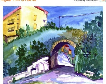 Southern italy etsy fall sale maida calabria italy watercolor print italian landscape wall art sciox Images