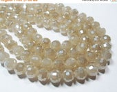 """20% OFF 6"""" Glass STRAND - Glass Crystal Beads - 11mm faceted rounds - Opaque Pearlized Cream (6"""" strand - 14 beads) - str769"""