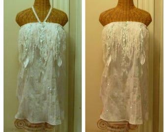 Seaglass Dreamcatcher Dress Strapless Wedding Boho Bridal Braid Tassel Dreadlock Tribal Boho Velvet Feathers Large, 1x, 2x Beach Bride