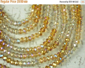 ON SALE 100 Topaz & Clear AB Beads Faceted Crystal 4mm x 6mm Rondelle Spacers - Full Mix Strand (C387)