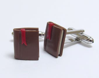 Book Cufflinks, Brown Red Silver, Polymer Clay, Suit Accessory, Reader/Writer, Unique Men's Gift
