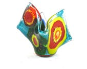 Hand Painted Fused Glass Small Candle Holder, Organic Shape, Multicolor