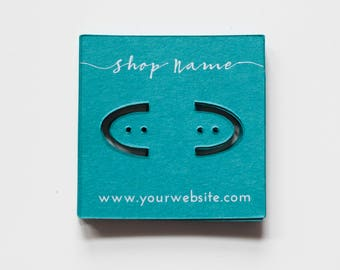 100+ Custom 2x2 White Ink Cardstock Earring Cards - Jewelry Packaging Cards - Jewelry Logo Cards - Earring Branding - Many Colors Available