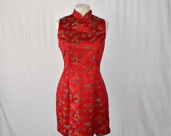 Sleeveless Asain Inspired Red Brocade Dress
