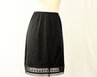 Black half slip / Skirt extender with Lace edge