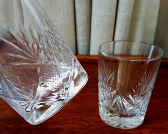 Vintage Cut Glass Tumblers Cocktail Glass Crystal Clear Wedding Gift Set of Two 1940s