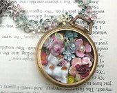 puppy diorama flower necklace pocket watch assemblage summertime floral one of a kind flea market