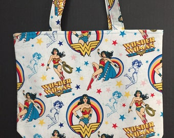 Wonder Woman Tote Bag/Book Bag/Preschool Tote/Go Bag/Project Bag